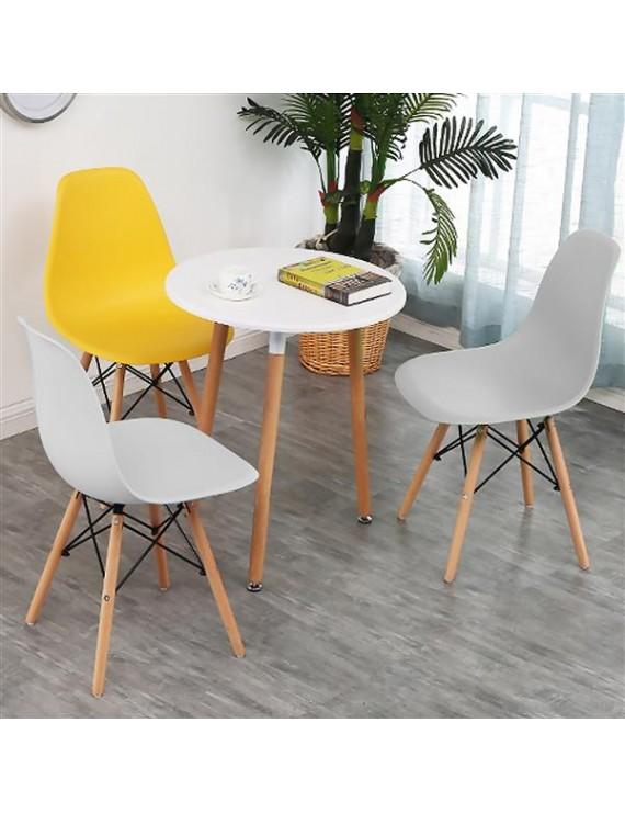 Eiffel Esstisch Weiß Rund Küchentisch Esstisch Modern Büro Konferenztisch Kaffeetisch Natürliche Buchenholzbeine