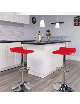 2 X Barhocker 2er-Set Barhocker Barstuhl Verstellbare Höhenverstellung, verchromter Stahl, Antirutschgummi, pflegeleichter Kunstleder, gut gepolsterte Sitzfläche (Rot)