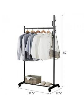 2-in-1 Coat Rack Rolling Garment Rack with Bottom Shelves-Black