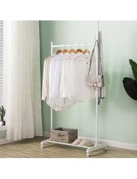2-in-1 Coat Rack Rolling Garment Rack with Bottom Shelves-White