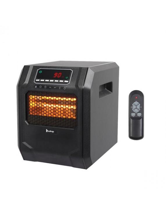 ZOKOP HT1188N 1500W Quartz Tube Heater Digital Style 4 Quartz Tubes Black (Change to Metal Fan)