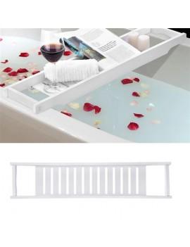Luxury Slim Bridge Bath Tray Bathtub Storage Rack Shelf Organizer Bathroom Accessories White
